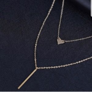 Gold layered dainty heart bar necklace